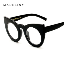 MADELINY Newest Fashion Cat Eye Glasses Frames Women Classic Cat Eye Retro Clear Lens Big Round Eyeglasses Frame Women MA098(China)