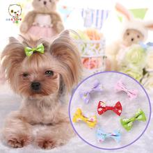 Newest Dog Accessories Flowers printing dog small hairpin dogs Hair Accessories ribbon Material for dogs and pet. PY336
