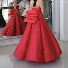 2017 Fashion Red Off the Shoulder Sweetheart Ruffled Puffy Bow Ball  Gown Bridesmaid Dresses