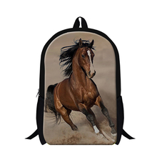 fashion white plush horse school backpack for boys,Polyester ferghana black horse back pack Animal bookbag for teenager student(China)