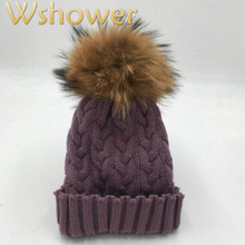 Which in shower Real Raccoon Fur Pompom Winter Hat Women Cable Knitted Beanie With Fur Pom Pom Ball Big Pompon Thick Female Cap(China)