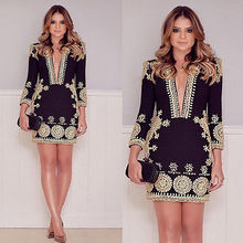 2016 NEW Summer Women 3/4 Sleeve Dress Fashion Print Work Office Dress Black Formal Party Dress Women Cheap Clothing Dresses