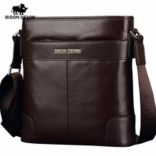 BISON DENIM Genuine Leather Shoulder Bag Satchel Cowhide messenger bag men's Crossbody Bags high quality gift N2214