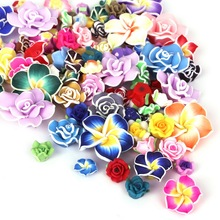 10pcs/lot Mix Color Handmade plumeria Soft Fimo Polymer Egg Flower For Fashion Wedding Hair Decoration Crafting Jewelry(China)