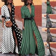 d6aa1ca83ad Polka Dots Mixed Color Shirt Dresses Women Summer Boho Long Maxi Dress  Cardigans loose Party Beach