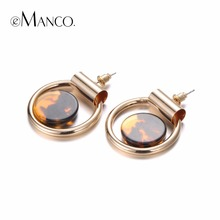 eManco Personalized Trendy Big Stud Earrings for Women Gold Plated Circular Perforation Brand Ear Accessories