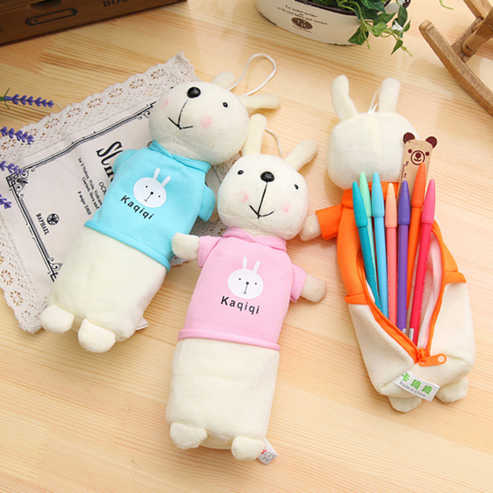 Brief Style Cartoon Zipper Plush Pencil Case Creative Lovely Rabbit Pen Bag For Kids Gift School Supplies(China (Mainland))