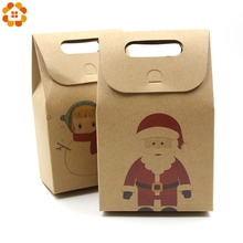 10PCS/Lot Kraft Paper Candy Boxes Christmas Gifts Supplies Guests Packaging Boxes Merry Christmas Favor Party Decorations