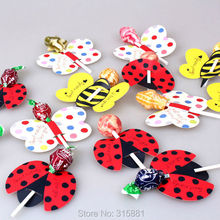 lollipop paper,Ladybug candy paper, Honeybee party favor, Butterfly lollipop decoration, kids gift wrap (only paper)(China)