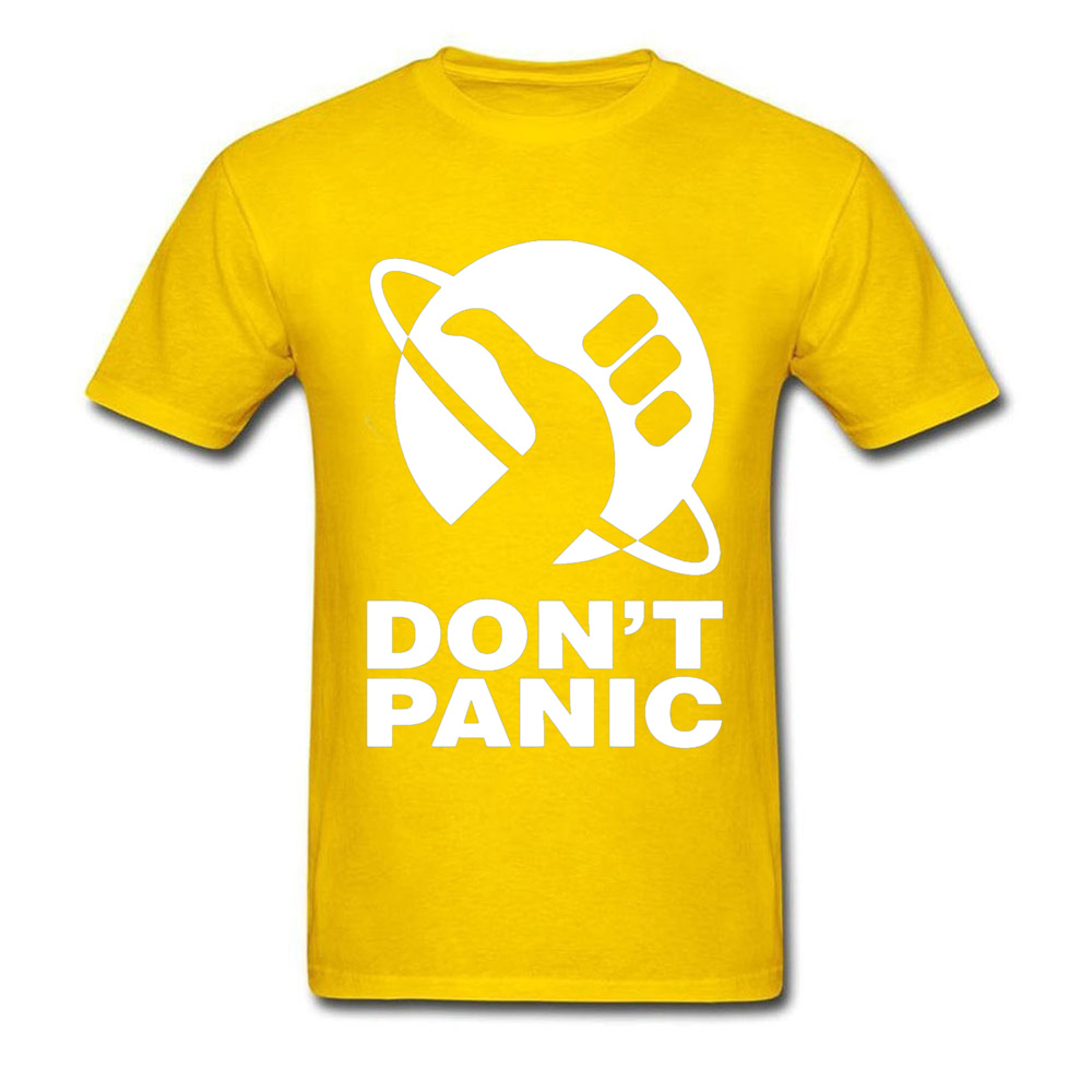 cosie Short Sleeve Tops T Shirt Summer/Fall O-Neck Pure Cotton Men T Shirts Dont Panic 24448 cosie Tops Shirts On Sale Dont Panic 24448 yellow