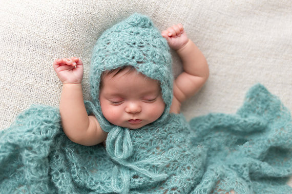 Crochet Newborn Baby Lace Shell Bonnet Hat and Photography Wrap, Mohair blanket hat studio photography props<br><br>Aliexpress