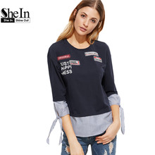 SheIn Women T shirt Womens Clothing Navy Striped Trim Tie Three Quarter Length Sleeve T-shirt With Patch Detail