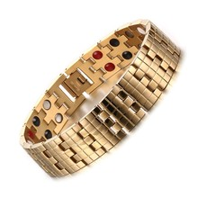 16mm Wide Hong Kong Gold Bracelets Bangle Double lines Stone Magnet Health Care Men Bracelet Fashion Chain Jewelry(China)