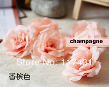New arrival Free shipping (100 pcs/lot) 8cm Ivory Artificial Silk Camellia Fabric Rose Peony Flower Heads Wedding Decoration(China)
