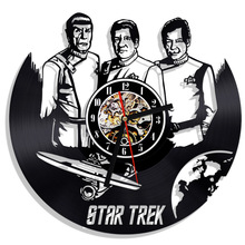 Free Shipping 1Piece Star Trek Vinyl Record Clock Vintage Decoration Wall Clock Wall Art Home Decor Room Design Hanging Clock