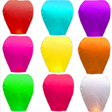 30 pcs Multicolor Paper Chinese wishing lantern Flying hot air balloon Fire Sky lantern Decor for Birthday Wish Wedding Party(China)