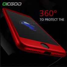 OICGOO 360 Degree Full Cover Red Case For iPhone 6 6s Plus 7 With Tempered Glass Case For iphone 7 7 Plus 6 Phone Bag Capa Coque