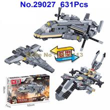 29027 631pcs Military Army Helicopter Osprey Transport Aircraft Building Block Brick Toy(China)