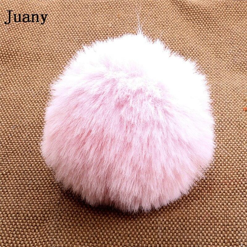 pompom key chain fluffy rabbit fur ball with bell key chain fake fur keychain women car bag key ring 4