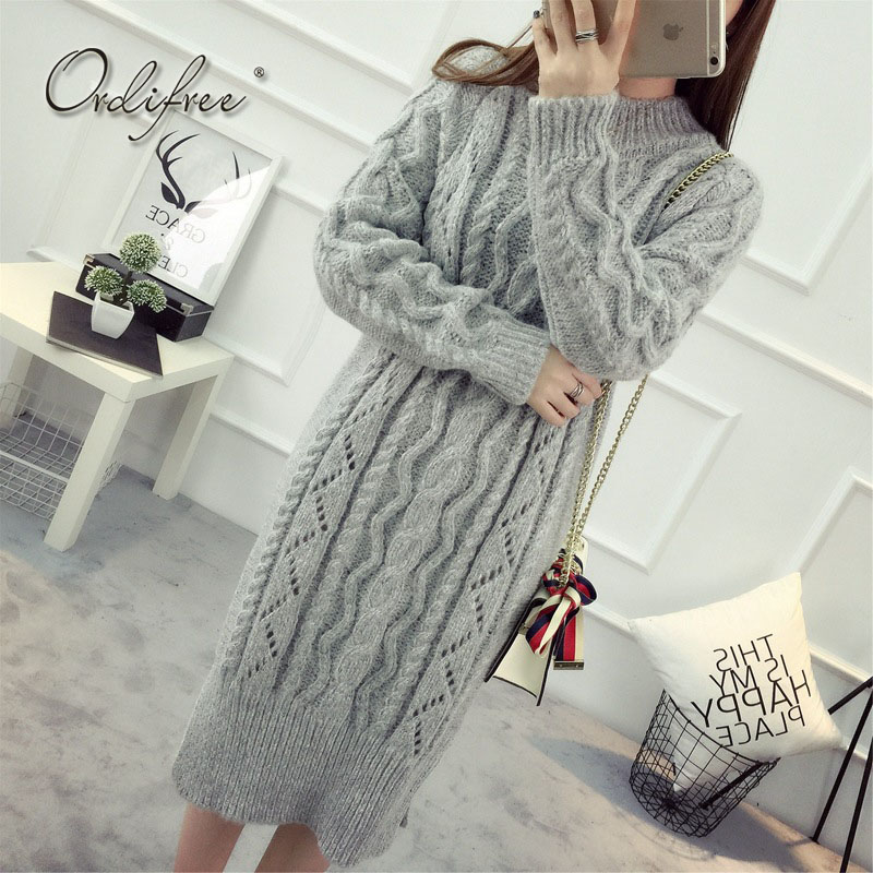 Ordifree Warm Knitted Dress Women Long Sweater Dress Turtleneck White Black Grey Crochet Long Sleeve 2017 Autumn Winter Dress