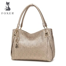 FOXER Brand Women Cow Leather Shoulder bag Fashion Design High quality Women's Handbag Female Handbag Chain lines Shoulder bags(China)