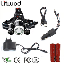 z10 led headlamp Headlight 9000 Lumen chips 3x XM-L T6 LED Head Lamp Flashlight head torch Headlamp battery Recharge Car charger