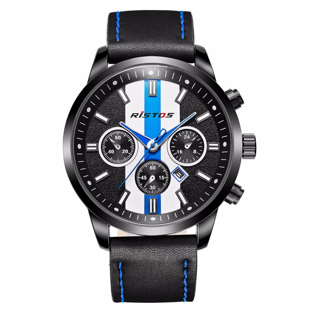 Ristos Brand Mens Analog Hour Round Case Wrist Watch Black Leather Band Strap Army Sport Calendar Date Quartz Watches / WCH031<br>