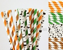 100pcs Drinking Party Paper Straws Mix,Green Orange Brown Striped,Black Birch,Zebra Print,Woodland,Old Fashioned,Decorative,Fun