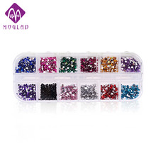 12colors 2000pcs/set Nail Art Rhinestones,Flatback Glitter Acrylic Strass UV Gel Nail Stones,DIY 3d Nail Decor Accessories Tools