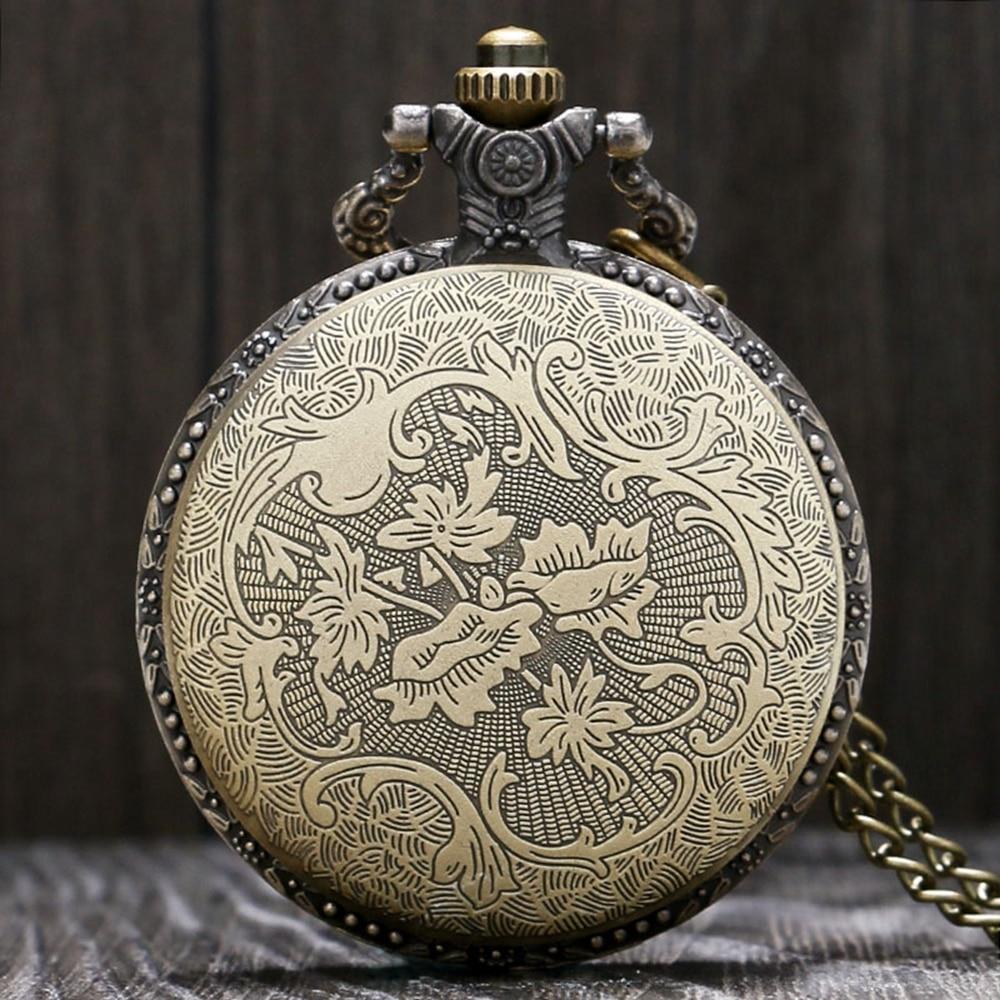 Retro Full Hunter Pocket Watch Men Bronze Hand Around Quartz Clock Vinatge Unisex Mini Gift Watch Women Necklace Clock Gift Bag (7)
