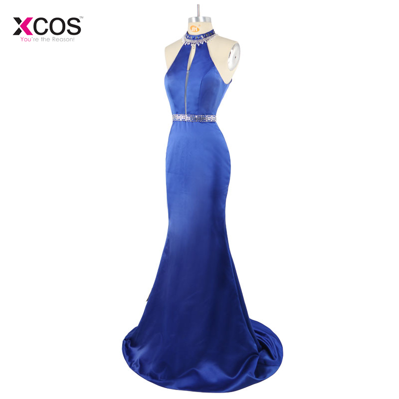 Blue Mermaid Sexy Halter Prom Dresses Floor Length Satin Formal Party Gown Crystal Beaded Evening Dress