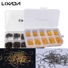 Lixada 600pcs/lot Carbon Steel Fishing Hook Jig Hooks Fishhooks with Hole Fish Fly Fishing Tackle Box 3# -12# 10 Sizes
