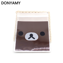 50PCS/LOT Cute Brown Bear Cookies Candy Snack Biscuit Package Bag Self-adhesive Food Handmade Baking Gift Packaging Bags 10X10CM(China)