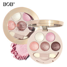 Korea Brand BOB 5-Color Eye Shadow Palette Eyes Makeup Beauty Eye Shadow Powder Shimmer Warm Diamond Colors Baked Eyeshadow with