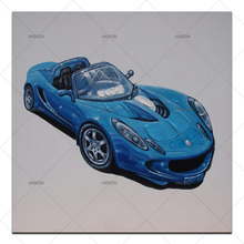 big size 100% hanmade oil Painting cool bule car coloring children student Hand painted with easel Home Bedroom home Decor(China)