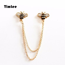 Timlee X289 Cartoon Two Bee Enamel Pins Cute Metal Chain Brooch Pins Button Pins Gift Wholesale