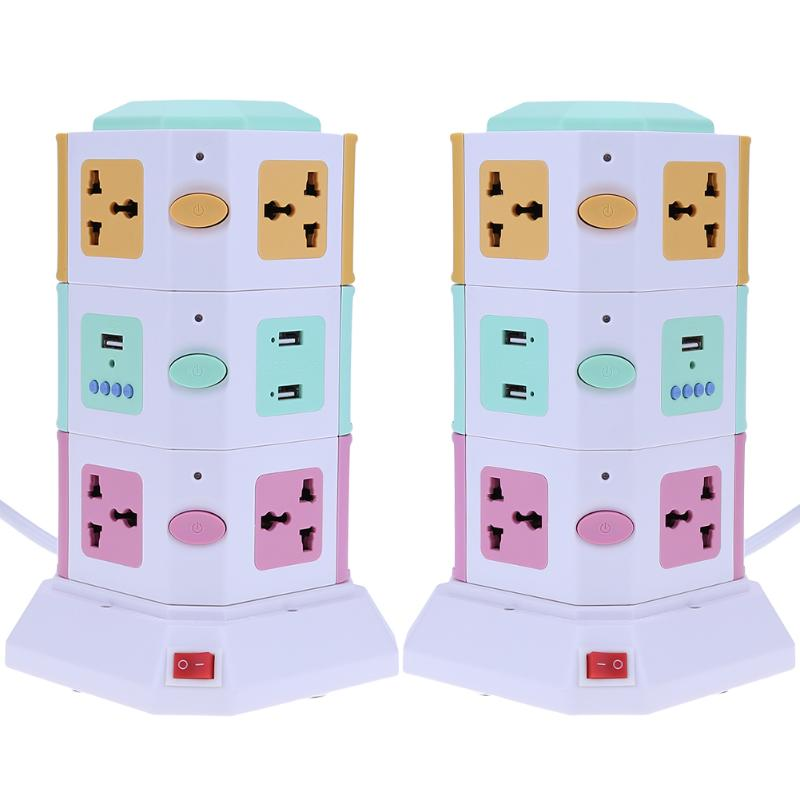 3 Layer 10 Ways Universal Smart Electrical Plug Vertical AC Power Socket Outlet with Independent Switch Suit + 2 USB Ports<br>