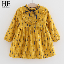 HE Hello Enjoy Girl Dress Kids Spring Autumn Children's Girl Clothing 2017 Bow Print Yellow Long Sleeve Dress for Girls Fashion(China)