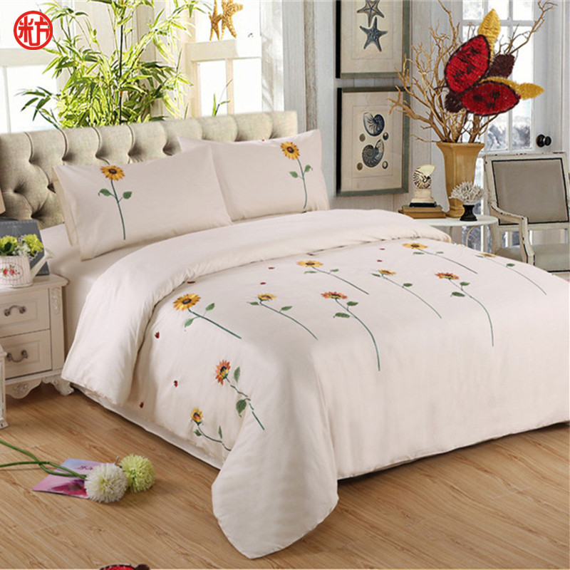 Sunflower Bedding sets 100%cotton embroidered duvet cover flat sheet bedclothes pillowcase bed set queen size outlet bedding(China (Mainland))