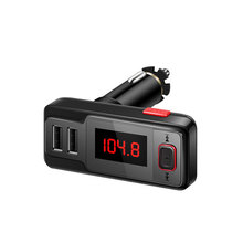 1PC Dual USB Output Bluetooth FM Transmitter Wireless Hands-free Audio MP3 Player Radio Car Accessories Wholesale