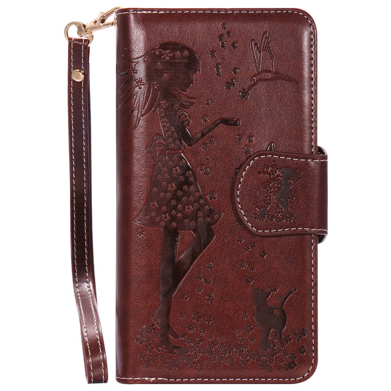 Luxury Girl&Cat 9 Cards Leather Case For Apple iPhone 7 Plus with Mirror Photo Frame Flip Covers For iPhone 7s Plus