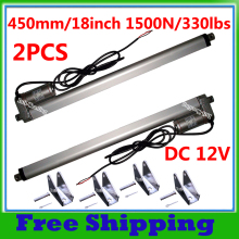 A Pair of 450mm/18inches Stroke Mini Electric Linear Actuators 1500N=150KG Load 12V DC Tubular Motor Motion & Mounting Brackets