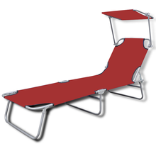 iKayaa Garden Chair Red Lounger Folding Outdoor With Canopy 189 x 58 x 27 cm ES Stock