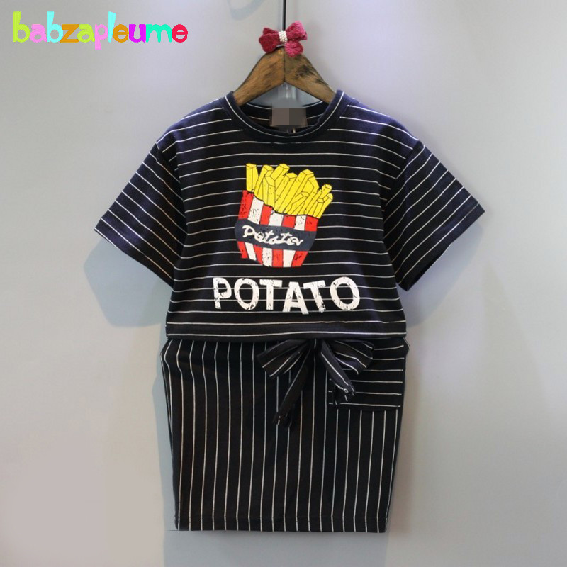 2PCS/2-6Years/Spring Summer Korean Fashion Kids Clothes For Baby Girls Suits Stripe T-shirt+Skirt Children Clothing Sets BC1057(China)