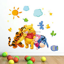Small Cute Bear and Friends Classic Cartoon DIY Wall Stickers for Baby Bedroom Kindergarten Decor