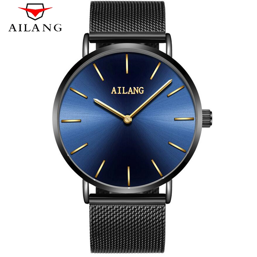 Ultra-thin dial New Fashion top luxury brand AILANG watches men quartz watch stainless steel mesh strap leisure simple clock <br>