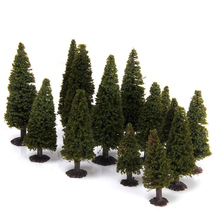 15pcs 1/100 1/150 1/200 Green Scenery Landscape Model Cedar Trees Diorama Miniatures Gift(China)