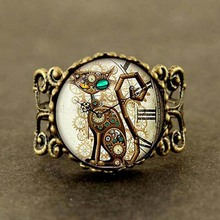 sugar skull US Movie Mechanical Clock Cat silver Ring steampunk Jewelry Gift women mens