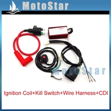 Racing Ignition Coil + AC CDI + Wiring Loom Harness + Kill Switch For 50cc-160cc Engine Chinese Pit Dirt Motor Bike