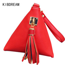 KIBDREAM 2016 High Quality Leather Coin Purses Women Pyramid Shape Tassel Change Purse Ladies Girl Money Key Wallets Holders Bag
